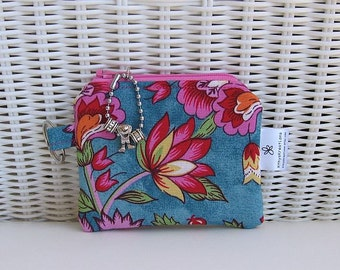 READY-TO-SHIP Handmade Coin Purse / Change Purse / Pink & Turquoise