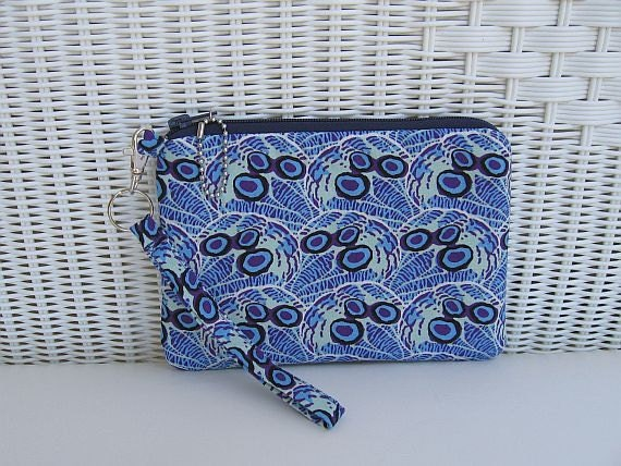 READY-TO-SHIP Handmade Blue Large Wristlet / Padded Pouch / Womens Wristlet