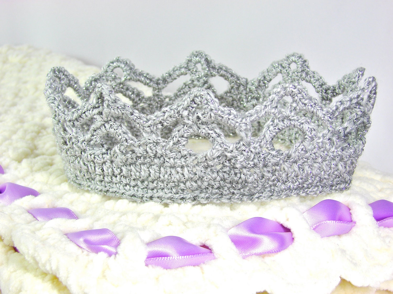 Crochet Crown Tiara Rounded Crown All sizes Baby by TheLilliePad