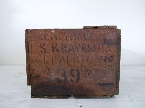 reserved for melissa - vintage industrial wooden fruit crate stamped '39'