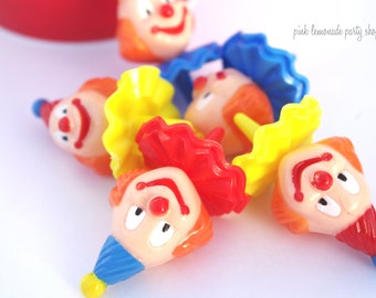 ReTRo CLoWn Cupcake Picks--12 count--Carnival party--Circus Theme---