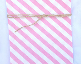 12 PINK and  WHiTE  diagonal STRiPE-- bigger bags--party favors--gifts---weddings--showers--12ct