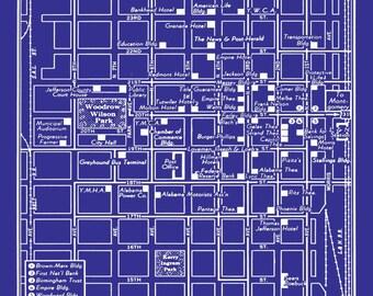 1949 vintage map of downtown miami blueprint map print poster 1949 vintage map of birmingham alabama blueprint print poster malvernweather Choice Image