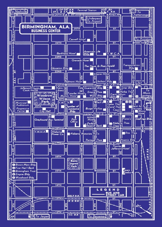 1949 Vintage Map of Birmingham Alabama Blueprint Print Poster