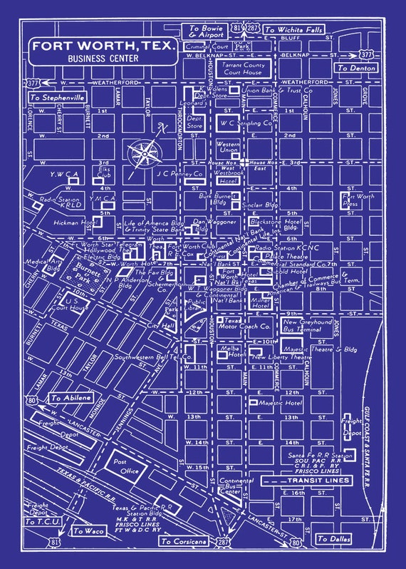 Vintage map of fort worth texas blueprint map print poster like this item malvernweather Images