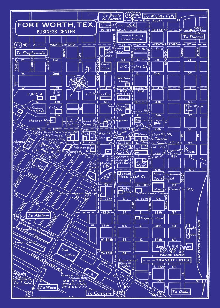 100 fort worth texas map texas calendars texas for Print blueprints online