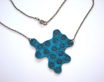 Blue Circles Textured Neckalce / Upcycled Jewelry / Geometric Pendant