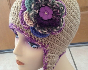 Free Shipping Women's Flower Ear Flap Beanie Hat in Taupe with Braids - MADE TO ORDER