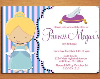 Cinderella Glass Slipper Princess Birthday Party Invitation Cards PRINTABLE DIY