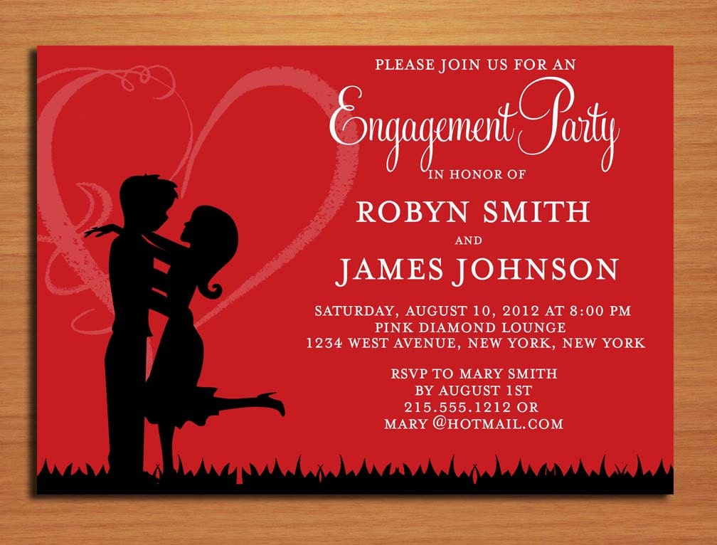 Love Silhouette Red Engagement Party Customized Printable