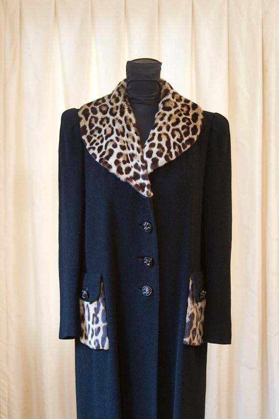 1940's Leopard Fur Trim Boucle Wool Coat by J.W. Robinson Co.