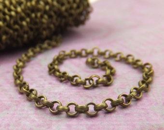Antique Brass  Round Open Links Cross Chain 2x2mm Unsoldered Flat Links Jewelry Making Findings -KarPenaEnterprises