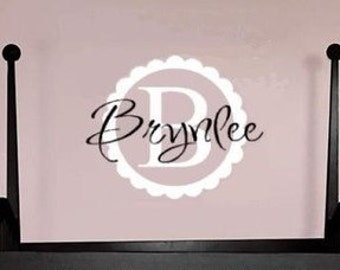 Personalized Name with Monogram  -   Vinyl Wall Art