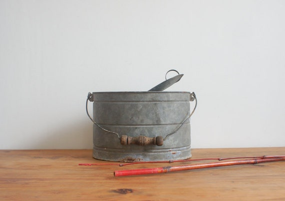 vintage french bait pail for fishing
