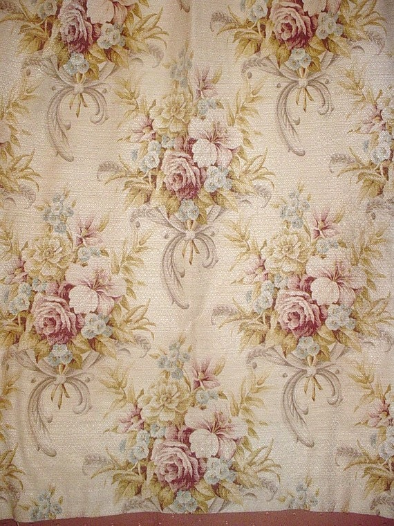 Vintage Barkcloth Curtain Panels Champagne And Roses Shabby