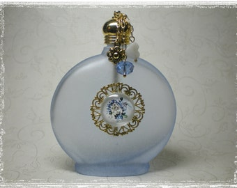 Vintage Look Blue Frosted Glass Perfume Bottle