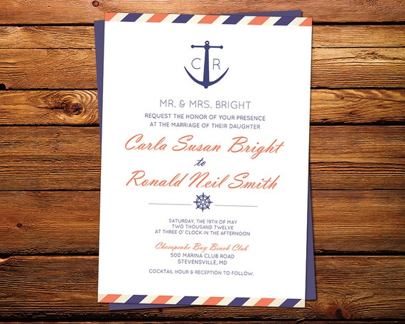 Anchor Beach Wedding Invitation