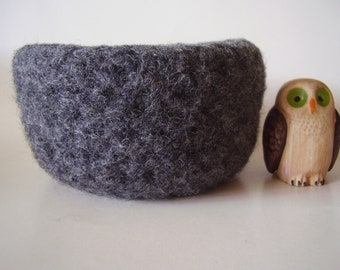 felted wool bowl Grey container treasure dish jewelry holder