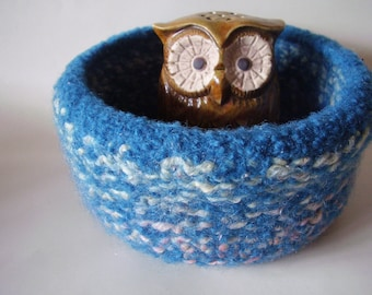 felted wool bowl container  jewelry holder desktop storage teal mix