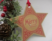 Be Merry & Bright Red Star Christmas Tags Set of 6