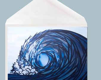 Wave Greeting Card // ocean and beach stationary by Tamara Kapan - option to add your personal message inside card!