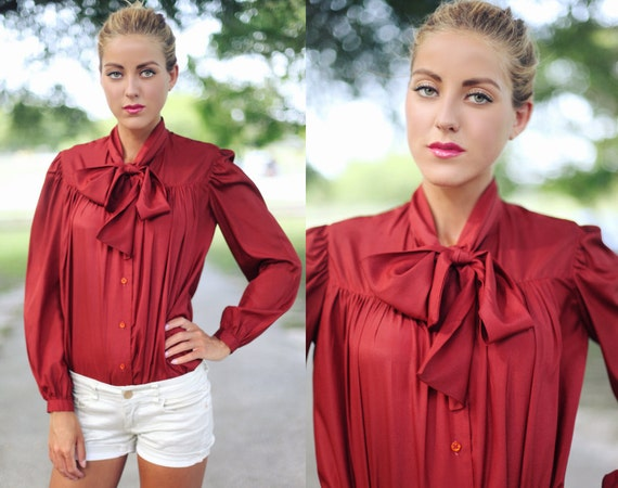 Vintage 1970s Brick Wine Red Button Down Pussycat Blouse