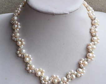 wedding necklace, 16 inches 5.5-8mm Freshwater ivory Pearl Necklace, Flower pearl necklace, pearl and rhinestone necklace, wedding necklace
