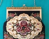 Vintage Tapestry Embroidered Purse Victorian Chain Strap