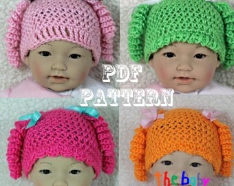 Crochet Baby Hat Pattern - Cute Girl's Character Hat Pattern -  Crochet Baby Hat - Photo Prop
