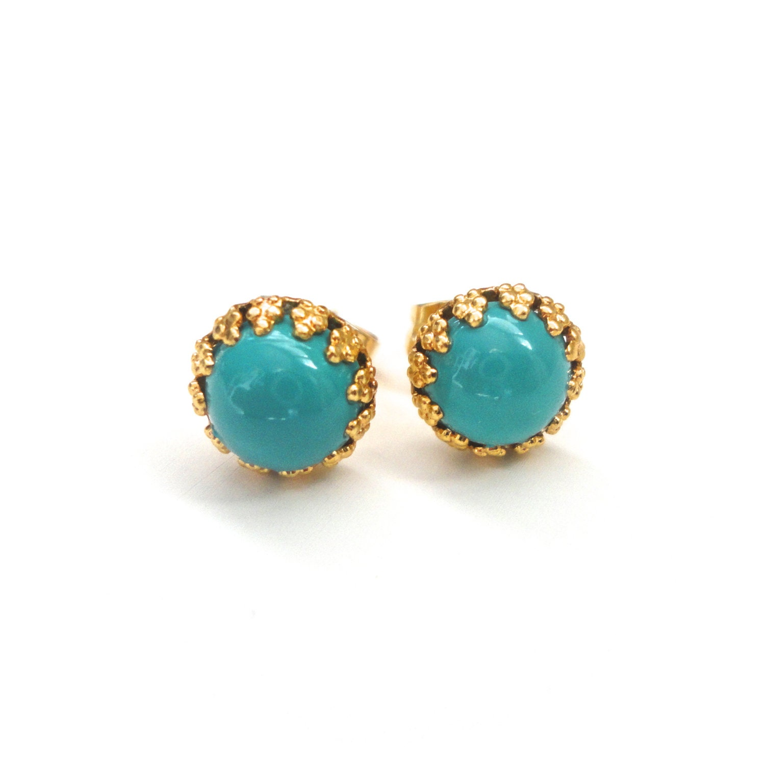 turquoise gold studs tiny post earrings by asimplekindoffancy. Black Bedroom Furniture Sets. Home Design Ideas