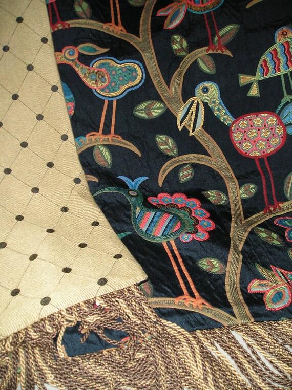 Bird Throw Blanket, Jungle Animals, Exotic Birds, Luxurious Throws, Designer Throw, Tapestry Hanging, Wall Art, Fantasy Chenille Bedding