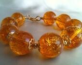 Vintage Amber Lucite Bracelet FREE SHIPPING