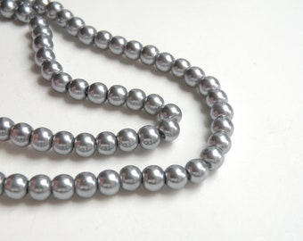 Silver gray glass pearl beads round 6mm full strand 7754GB