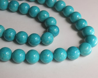 Riverstone beads in turquoise blue round gemstone 12mm full strand 9462GS