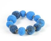 RESERVED for Kim / CUSTOM ORDER / blue stretchy felted bracelet