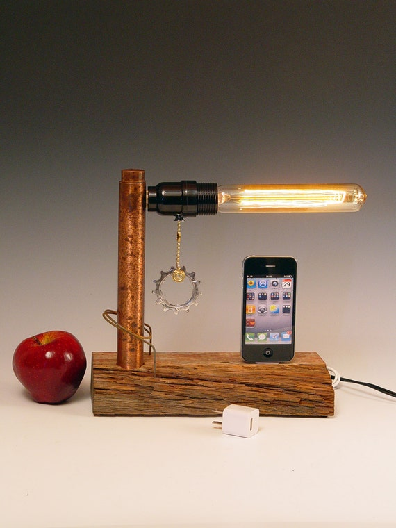 iPhone, iPod dock AND table lamp. iPhone 3, 4, 5. Recycled wood. Copper. Steam punk. Industrial. 231