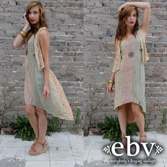 Vintage 90's does 70's Hippie Boho Calico Patchwork High Low Fishtail Tuxedo Sun Dress S M