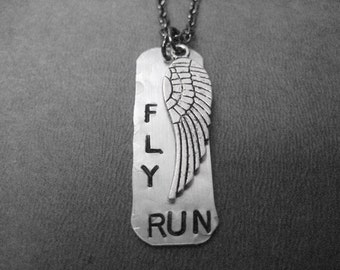 FLY RUN with WING Running Necklace - Aluminum Dog Tag Style Runner Necklace on 24 inch Gunmetal Chain - Stainless Steel Chain available