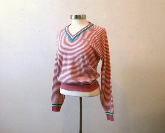 80s Vintage Lacoste Sweater / Preppy Sweater Pullover Jumper / Stripes M