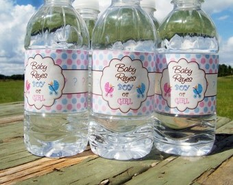 30 Gender Reveal Water Bottle Labels - Waterproof and self stick - Gender Reveal Ideas