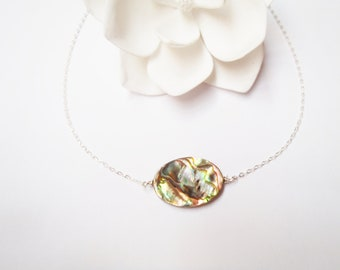 Abalone Sterling Silver Chain Necklace, Paua Shell, Made in Hawaii