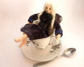 Art cloth doll teacup fairy soft sculpture