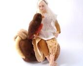 Fairy cloth art doll pixie needle felt bird mushroom Robin doll soft sculpture