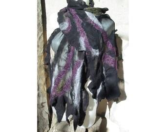 Nuno Felt Scarf,Felt AU Wool Scar,Wool Shawl,European Art Deco,Design,Black andLilac Scarf,Handmade,OOAK