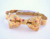 Childs bow tie yellow paisley summer wedding floral toddler boys smart formal cute neck tie pale pastel childrens accessories dickie bow