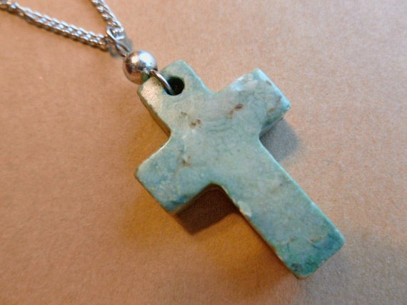 Vintage Marbled Green Stone Cross Pendant with Silver Neckchain