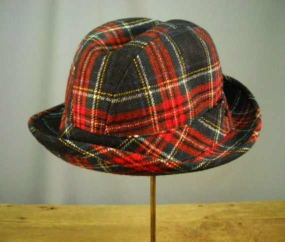 Vintage 1960's Red Plaid Pendleton Hat