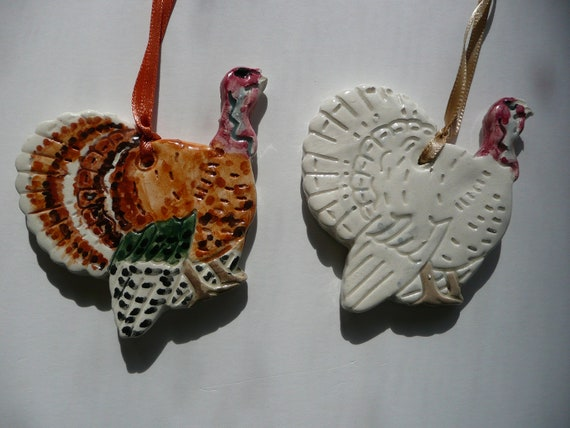 thanksgiving turkey ceramic ornaments set of 2 handmade