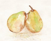 Perfect Pair / Pear Watercolor Print / yellow / Kitchen Art /  Perfect Pear Wedding Gift