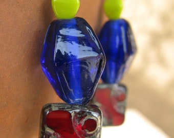 Graduation gift Bright red and blue earrings with yellow